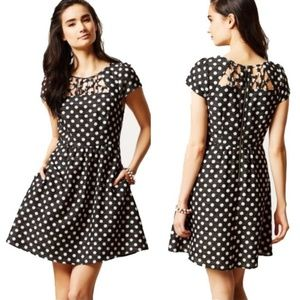 Anthro Maeve Nikola Polka Dot Dress Fit Flare 12